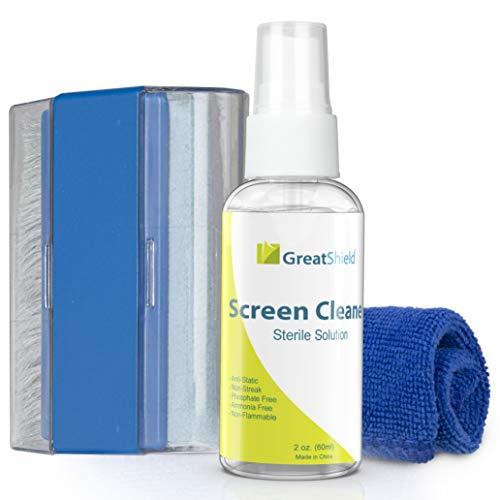 GreatShield Kit di pulizia touchscreen con panno in microfibra, pennello, salviette detergenti Soluzione spray per laptop, monitor per PC, smartphone, tablet, iPhone, iPad, LED, TV, fotocamere DSLR, videocamere