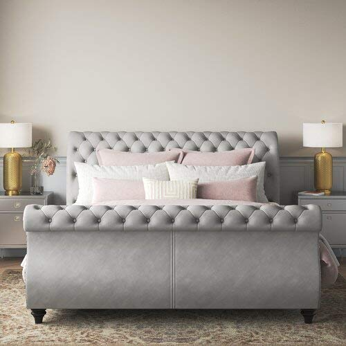 Matos Button Tufted Upholstered Sleigh Bed (Queen)