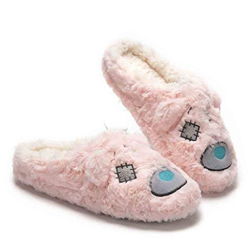 TEELONG Cute Cartoon Slippers for Womens Girls Indoor Shoes Plush Soft Cute Cotton Slippers Non-Slip Floor Slippers 2019 Winter Warm Slippers Basic Flat Flip Comfortable Home Shoes Pink