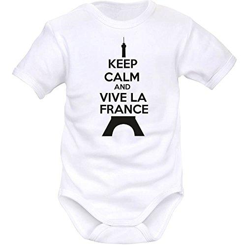 Body bébé Keep Calm and Vive la France (8 Couleurs) - Blanc - 18 Mois