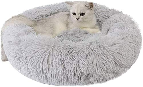 Huisdier nest Ronde Pet Bed Pluche Donut Dog slaapbank Cats Nest Bed Kussens for Beter slapen, Gray, hok (Color : Gray)