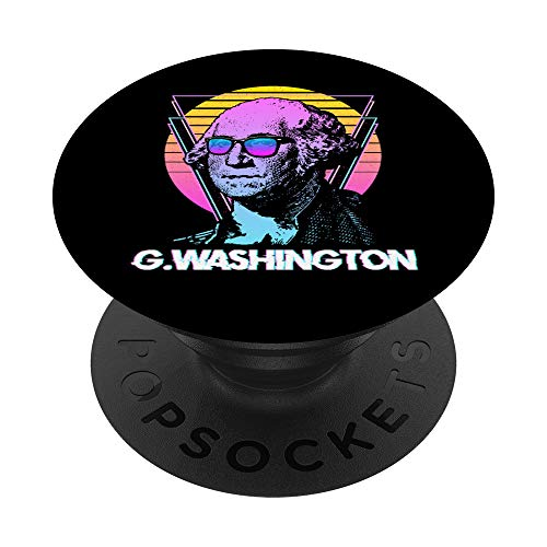 George Washington with Sunglasses Vintage Retro Vaporwave PopSockets Grip and Stand for Phones and Tablets