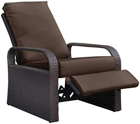 "Outdoor Recliner Wicker Patio Adjustable Recliner Chair with 5.11"" Cushions and Ottoman,Rust-Resistant Aluminum Frame,All-Weather Resin Rattan, Brown& Orange"