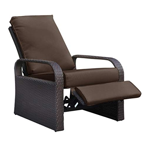 BABYLON Outdoor Wicker Recliner, Patio Recliner Adjustable Chair with 5.11