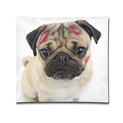BK Creativity Cushion Cover,Play Boy Pug Dog Have Lip Kiss On Face Decorativo Cuadrado Acento Nueva Funda De Almohada Fundas De Cojín,45x45cm