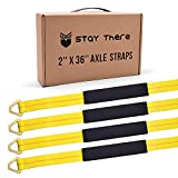 4 Pack 36' Long Axle Tie Down Straps by Stay There, Alex Straps with D-Ring and Protective Sleeve 10,000 Pound Capacity