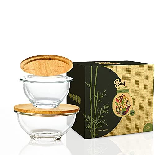 bambuswald© Salatschüssel aus Glas im 2er Set 465ml 865ml | Schüssel Rührschüssel Kochschüssel Schale Müslischale Servierschale Suppenschale Dekoschale Obstschüssel Glasschüssel