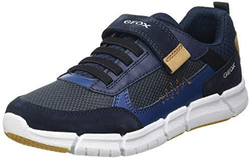 Geox J FLEXYPER Boy B Sneaker, Navy/Cognac, 30 EU