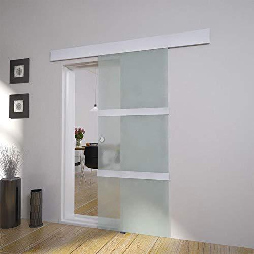 SOULONG Puerta Corredera de Cristal,Puerta Corredera Transparente de Cristal Sin Obra,76 x 205 cm