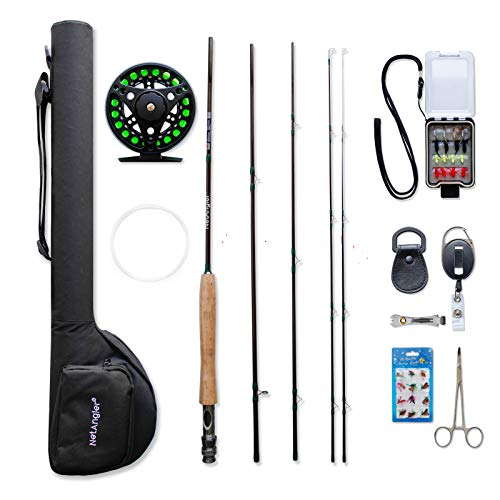 NetAngler Fly Fishing Rod and Reel Combo, Lightweight Portable 4-Piece Fly Fishing Rod, 5wt Aluminum Fly Reel with Pre-Loaded Lines 28pcs Flies with a Waterproof Fly Box Complete Starter Kit