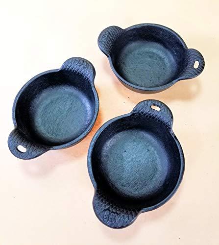 3 pc Cast Iron Ramekins Baking Bowls 4' wide x 1/2' tall, 12 oz