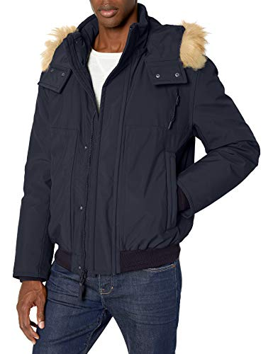 Marc New York by Andrew Marc Men's Boerum Insulated Bomber Jacket with Removable Fur Hood, Ink, Large