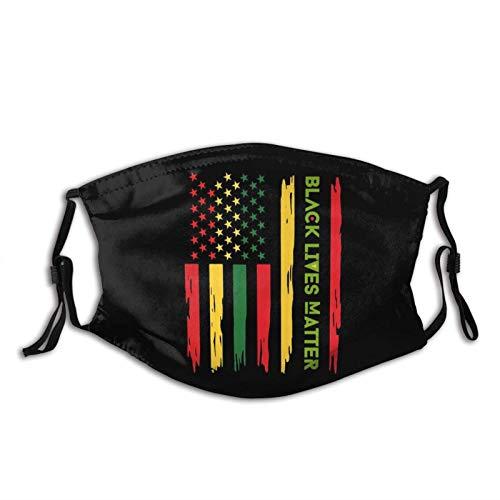 Black Lives Matter - Maschera per il viso, riutilizzabile, lavabile, con paraorecchie regolabili, per adulti, con 2 filtri (Waterful Flag Blm)