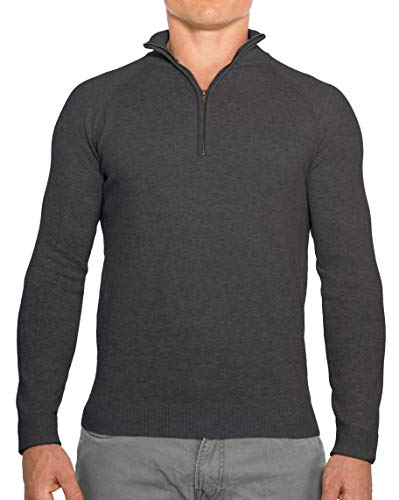 CC Perfect Slim Fit 1/4 Quarter Zip Pullover Men | Durable Wash Friendly Mens Sweater | Soft Fitted Sweaters for Men Charcoal Grey