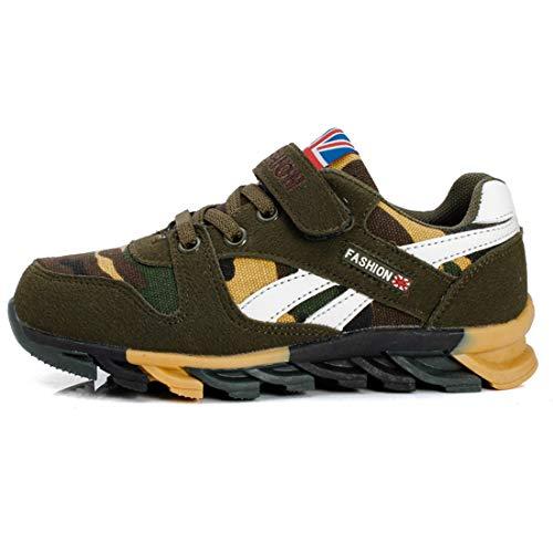 FIHUGKE Kinder Schuhe Sportschuhe Ultraleicht Atmungsaktiv Turnschuhe Klettverschluss Low-Top Sneakers Laufen Schuhe Laufschuhe für Mädchen Jungen, Grün, 37 EU