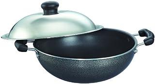 Prestige Omega Select Plus Non-Stick Round Base Kadai with Lid(0.9 litres_17cm, Grey)