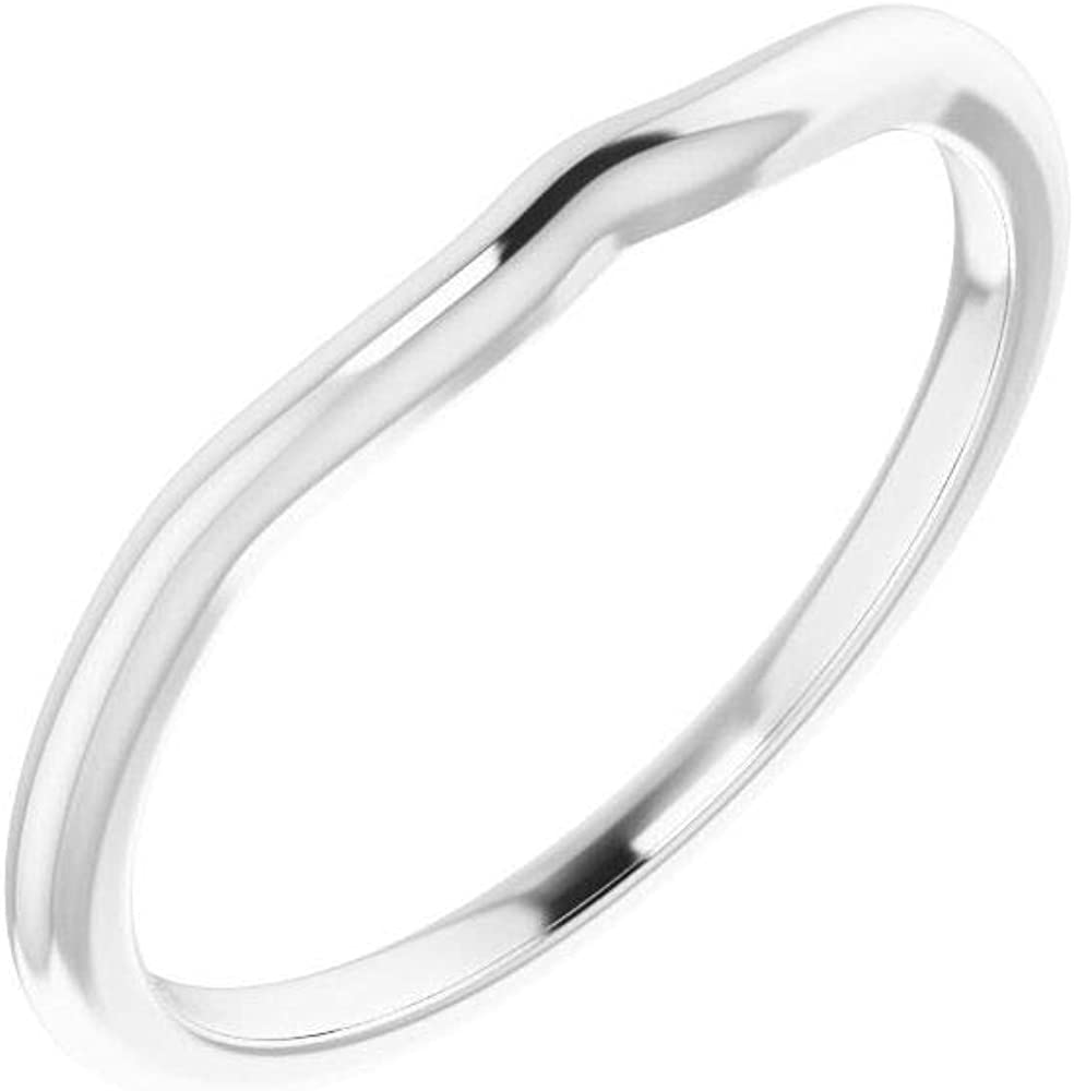 Solid 18K White Gold Curved Notched Wedding Band for 6x4mm Pear Ring Guard Enhancer - Size 7.5