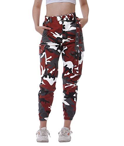 Damen Sport Cargo Hose Camouflage Sicherheit Hose hoch taillierte Hose bekämpfen Relaxed-Fit Hose Cargo Taschen Hose mit Gürtel