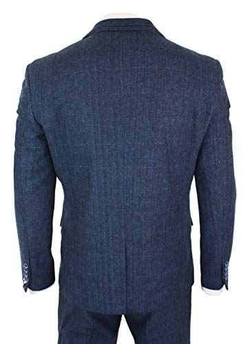 Mens 3 Piece Navy Blue Suit Tweed Check 1920's Tailored Fit Vintage