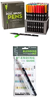 Tombow Dual Brush Pen Art Markers,96 Color Set with Desk Stand and Tombow Blending Kit, Palette, Mister, & Colorless Blender, 1-Pack Bundle