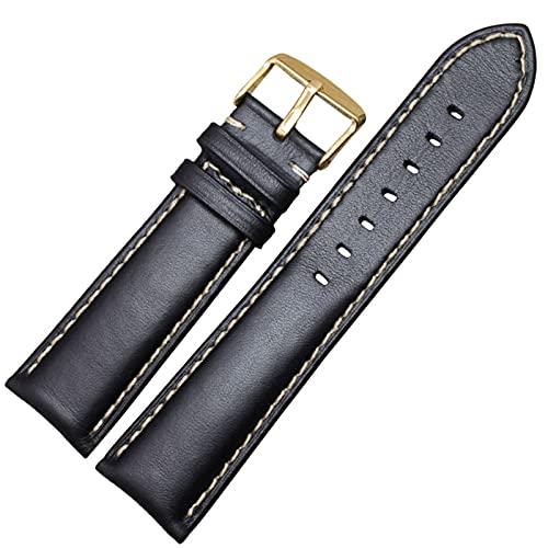 Hecho a mano de cuero genuino correas de reloj pulsera Hombres Mujeres 18 19 20 21 22 24mm de la vendimia venda de reloj de la correa de la hebilla de plata pulida Wiht, hebilla de oro negro, 20mm
