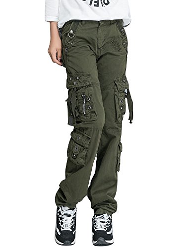 Ochenta - Pantaloni cargo da donna, con 8 tasche, pantaloni militari, divisa da lavoro Verde militare (38 IT) 27W/36 anca