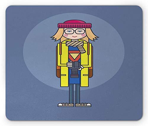 Alfombrilla de ratón Retro, Chica de diseño Plano con Gafas y Abrigo Amarillo con cámara de Fotos, impresión de ilustración, Alfombrilla de Goma Rectangular Antideslizante