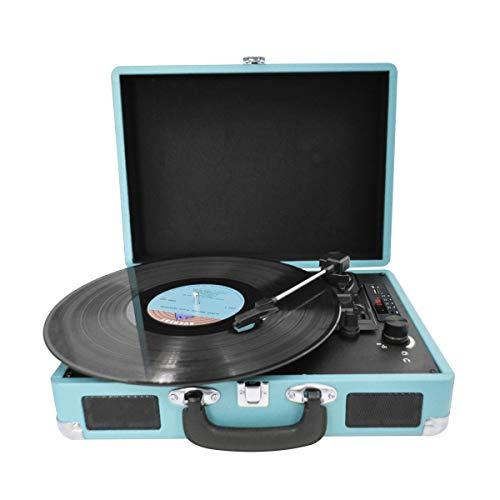 PRIXTON VC400 - Tocadiscos de Vinilo Vintage, Reproductor de Vinilo y Reproductor de Musica Mediante Bluetooth y USB, 2 Altavoces Incorporados, Diseño de Maleta, Color Azul