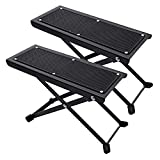 Guitar Foot Stool, 2 Pack Guitar Foot Rest, Height 4 Levels Adjustable Folding Solid Iron Guitar Foot Stand with Rubber End Caps and Non-slip Rubber Pad, for Classical Guitar