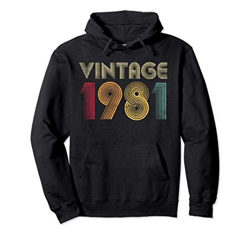 Vintage 1981 40th Birthday Gift 40 Years Old Men Women Retro Sweat à Capuche