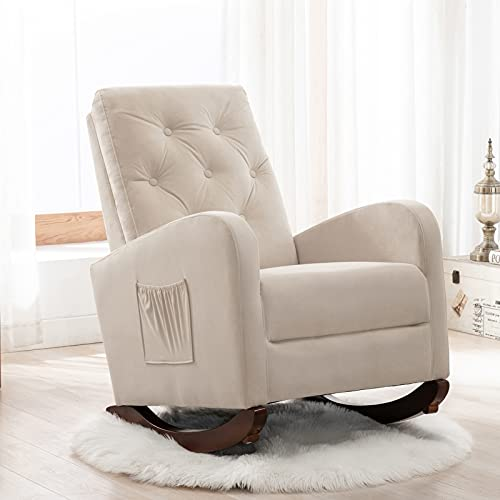 Velvet Rocking Chair with Side Pocket, Comfy Accent Chair with High Back, Upholstered Nursery Rocking Lounge Chair, Modern Glider Rocker Armchair for Bedroom and Living Room (Beige)