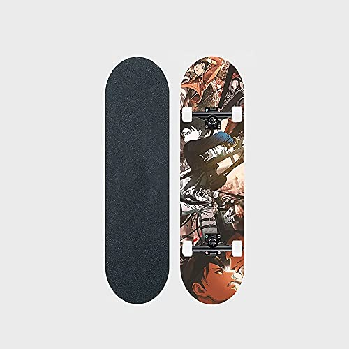 """Attack On Titan Series Anime Skateboard Levi · Ackerman Póster De Primer Plano Patrón De Transferencia De Calor Tabla De Skate De Arce De 7 Capas Tabla De Skate De 31 """"de Largo Rodamiento De Doble Bal"""