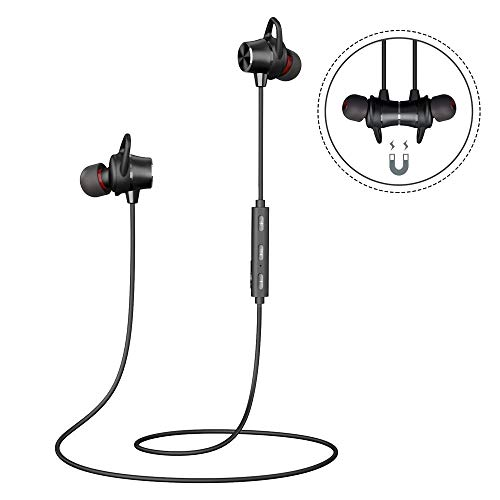 Bluetooth Kopfhörer In Ear, Sport Kopfhörer Joggen Laufen Fitness Wireless Ohrhörer 5.0 Stereo mit Mikrofon 8 Stunden Spielzeit Magnetische für iPhone Android Samsung Huawei iPad Tablets