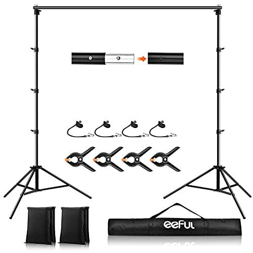 Foto Hintergrund Ständer 2.6 x 3M Verstellbarer Photo Video Hintergrundständer Set mit Tragetasche 4 Federklemme 2 Sandsack 4 Hintergrund-Clip Hintegrundsystem für...