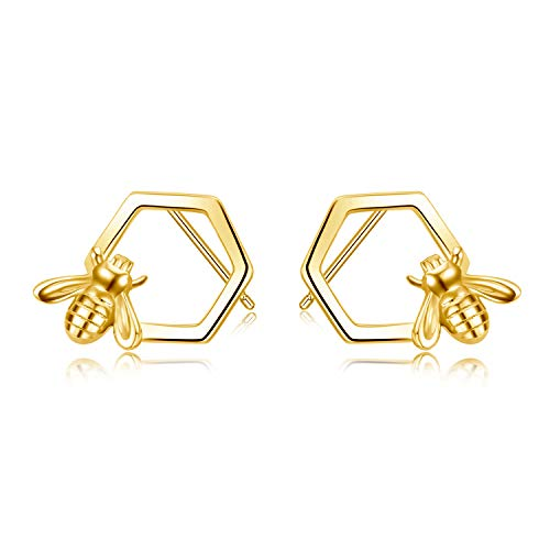 925 Silber Ohrringe Stecker Damen,Prämie Ohrstecker Silber Schmuck Geschenke Biene Ohrringe Gold für Damen Mädchen Mutter Tochter