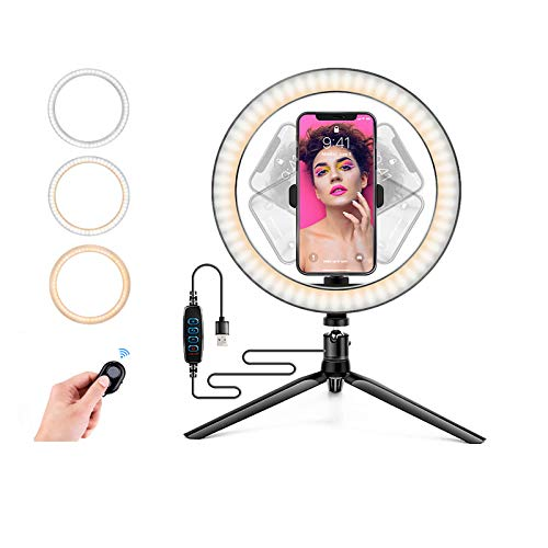Ring Light with Stand OEBLD Dimmable Desk Selfie Ring Light with Phone Holder for Video Photography Remote Control for Makeup Live Streaming YouTube Lighting (D(10.2