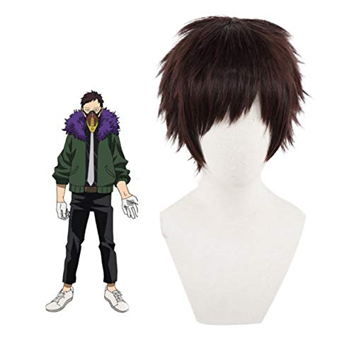 WKS Overhaul wig,Anime My Hero Academia Short Red Brown Cosplay Wig Costume Hair for Mens Boys Party