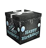 Endless Art US Gift Box 9'X9'X9' - Amrita Birthday Collection - Easy to Assemble & Reusable - No Glue Required - Ribbon, Tissue Paper, and Gift Tag Included - EZ Gift Box