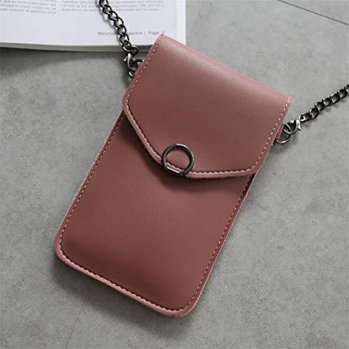 LPOQW - Bolso bandolera para teléfono móvil, multifuncional, de poliuretano, piel sintética, Rosa oscuro, As the Description