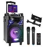 Sistema PA Audio Ricaricabile Moukey Bluetooth Altoparlante Amplificato portatile Impianto Karaoke Natale 160 Watt 10'', ingressi USB TF MP3, due microfoni, supporto tablet, telecomando