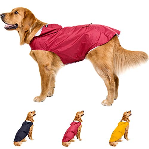 Leepets Dog Raincoat with Hood Waterproof Dog Rain Jacket Adjustable Lightweight...