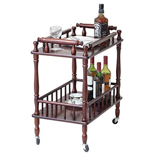 WLD Kitchen Serving Trolley Cart Hotel Bar 2 Layers Guardrail Design Solid Wood Multifunction Easy to Assemble,Brown,63x39x71cm