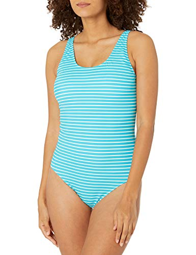 Amazon Essentials Women's One Piece Coverage Swimsuit, Blue Stripe, L