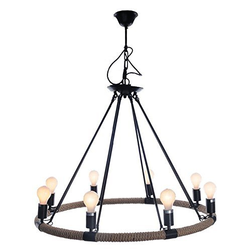Old Modern Handicrafts Rope Pendant Lamp with 8 Bulbs