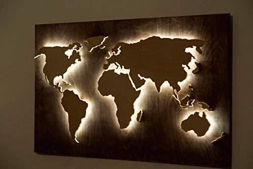 Holz Weltkarte mit LED Beleuchtung als Wanddekoration