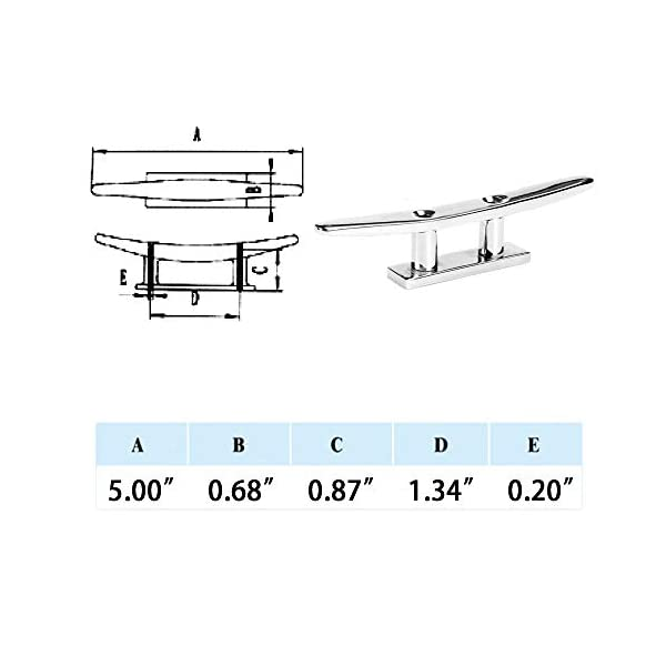 Thorn Mooring Boat Dock Cleat Marine Stainless Steel Flat Top 2 Holes