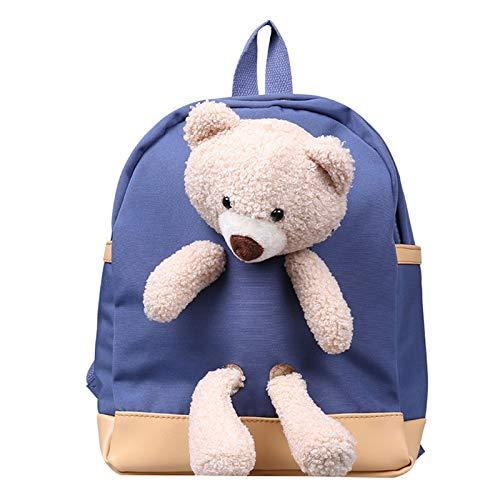 Mochilas de peluche con diseño de oso de dibujos animados para niños y niñas, Blue (Azul) - guangruiorrtysjb3TT904703-BL