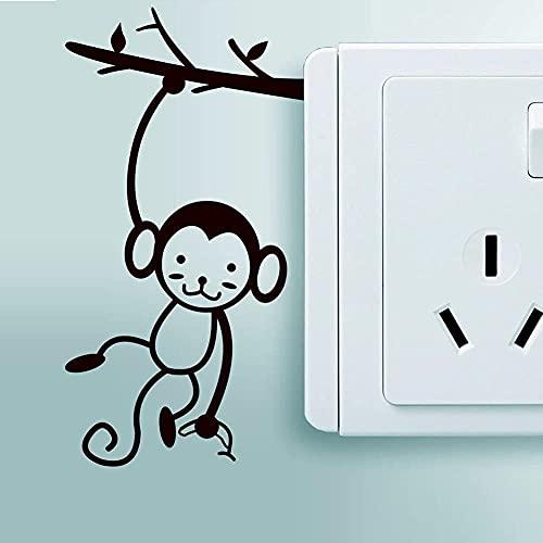 DOUMAISHOP Interruptor De Luz, Calcomanía De Vinilo, Pegatinas De Interruptor De Árbol De Mono, Murales De Pared De Mono Colgante, Decoración Creativa para Habitación De Niños, Lindo Interruptor Mur
