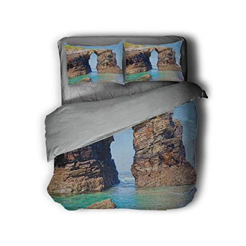 Luoiaax Beach Hotel Luxury Bed Linen Old Rocky Stone Arches on Spanish Seacoast Summer Nature Scenery Mediterranean Print Polyester - Soft and Breathable (Twin) Blue Cream