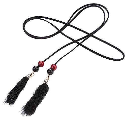 Black Temptation Elegante e Semplice Catena a Forma di Nappa, Cintura Decorativa a Corda Sottile, F2